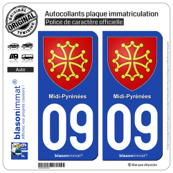 2 Autocollants plaque immatriculation Auto 09 Midi-Pyrénées - Armoiries