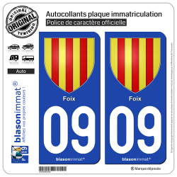 2 Autocollants plaque immatriculation Auto 09 Foix - Armoiries