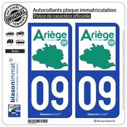 2 Autocollants plaque immatriculation Auto 09 Ariège - Département