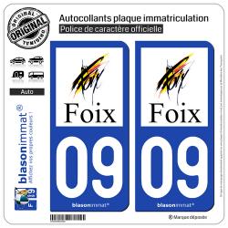 2 Autocollants plaque immatriculation Auto 09 Foix - Ville