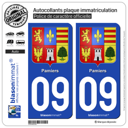 2 Autocollants plaque immatriculation Auto 09 Pamiers - Armoiries