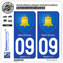 2 Autocollants plaque immatriculation Auto 09 Saint-Girons - Armoiries