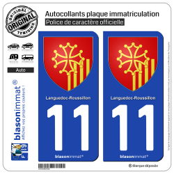 2 Autocollants plaque immatriculation Auto 11 Languedoc-Roussillon - Armoiries