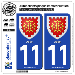 2 Autocollants plaque immatriculation Auto 11 Aude - Armoiries