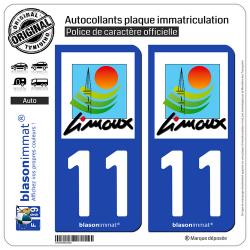 2 Autocollants plaque immatriculation Auto 11 Limoux - Ville