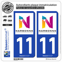 2 Autocollants plaque immatriculation Auto 11 Narbonne - Agglo
