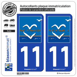 2 Autocollants plaque immatriculation Auto 11 Port-la-Nouvelle - Commune