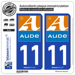 2 Autocollants plaque immatriculation Auto 11 Aude - Département