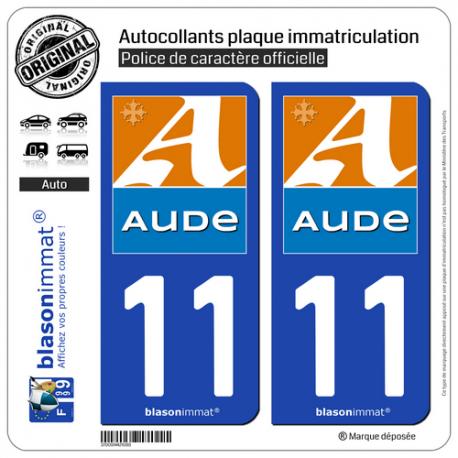 2 Autocollants plaque immatriculation Auto 11 Aude - Département