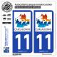 2 Autocollants plaque immatriculation Auto 11 Carcassonne - Ville