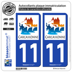 2 Autocollants plaque immatriculation Auto 11 Carcassonne - Ville