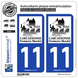 2 Autocollants plaque immatriculation Auto 11 Carcassonne - Patrimoine Mondial