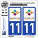 2 Autocollants plaque immatriculation Auto 11 Carcassonne - Agglo