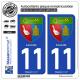 2 Autocollants plaque immatriculation Auto 11 Leucate - Armoiries