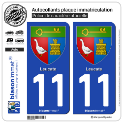 2 Autocollants plaque immatriculation Auto 11 Leucate - Armoiries