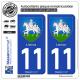 2 Autocollants plaque immatriculation Auto 11 Limoux - Armoiries