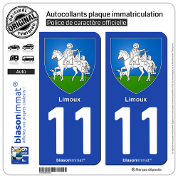 2 Autocollants plaque immatriculation Auto 11 Limoux - Armoiries