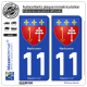 2 Autocollants plaque immatriculation Auto 11 Narbonne - Armoiries