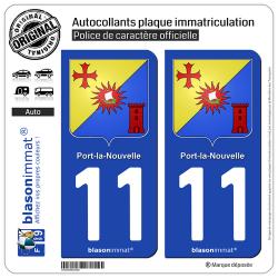 2 Autocollants plaque immatriculation Auto 11 Port-la-Nouvelle - Armoiries