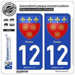 2 Autocollants plaque immatriculation Auto 12 Rodez - Armoiries