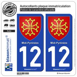 2 Autocollants plaque immatriculation Auto 12 Midi-Pyrénées - Armoiries