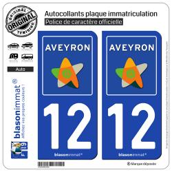 2 Autocollants plaque immatriculation Auto 12 Aveyron - Département