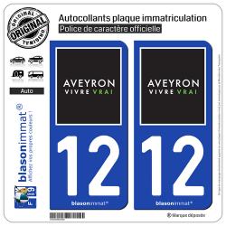 2 Autocollants plaque immatriculation Auto 12 Aveyron - Tourisme