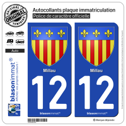 2 Autocollants plaque immatriculation Auto 12 Millau - Armoiries