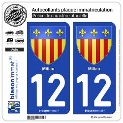 2 Autocollants plaque immatriculation Auto 12 Millau - Armoiries