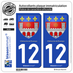 2 Autocollants plaque immatriculation Auto 12 Villefranche-de-Rouergue - Armoiries