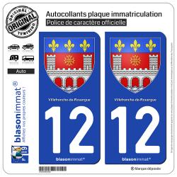 2 Autocollants plaque immatriculation Auto 12 Villefranche-de-Rouergue - Armoiries