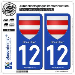 2 Autocollants plaque immatriculation Auto 12 Bor-et-Bar - Armoiries