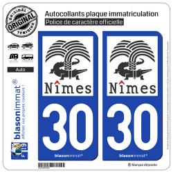 2 Autocollants plaque immatriculation Auto 30 Nîmes - Ville II