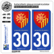 2 Autocollants plaque immatriculation Auto 30 Languedoc-Roussillon - Armoiries