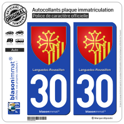 2 Autocollants plaque immatriculation Auto 30 Languedoc-Roussillon - Armoiries