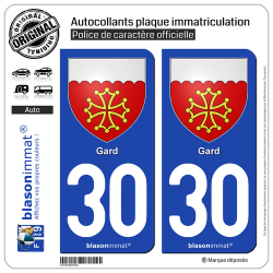 2 Autocollants plaque immatriculation Auto 30 Gard - Armoiries