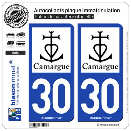 2 Autocollants plaque immatriculation Auto 30 Camargue - Croix Camarguaise