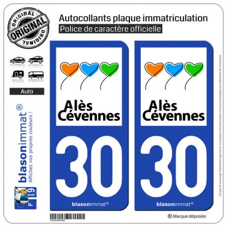 2 Autocollants plaque immatriculation Auto 30 Alès - Ville