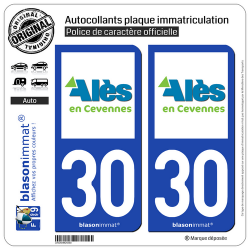 2 Autocollants plaque immatriculation Auto 30 Alès - Agglo