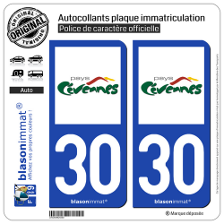 2 Autocollants plaque immatriculation Auto 30 Cévennes - Pays