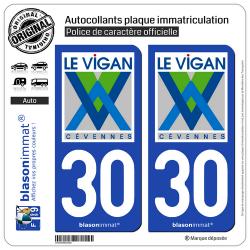 2 Autocollants plaque immatriculation Auto 30 Le Vigan - Commune