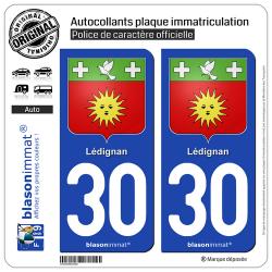 2 Autocollants plaque immatriculation Auto 30 Lédignan - Armoiries