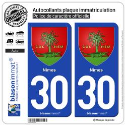 2 Autocollants plaque immatriculation Auto 30 Nîmes - Armoiries