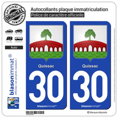 2 Autocollants plaque immatriculation Auto 30 Quissac - Armoiries