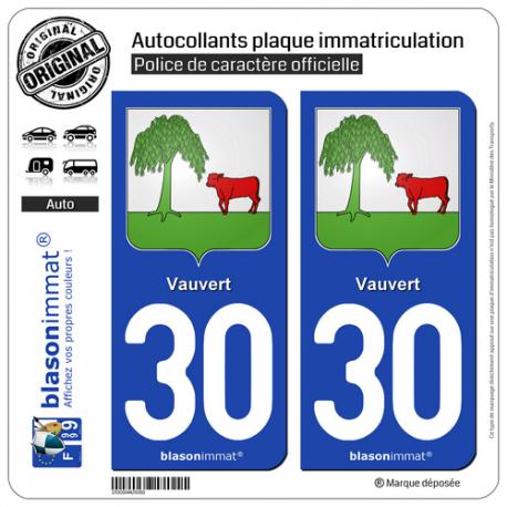 2 Autocollants plaque immatriculation Auto 30 Vauvert - Armoiries
