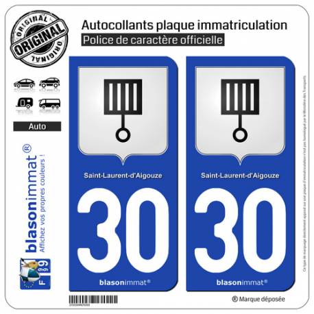 2 Autocollants plaque immatriculation Auto 30 St-Laurent-d'Aigouze - Armoiries