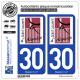2 Autocollants plaque immatriculation Auto 30 St-Laurent-d'Aigouze - Commune