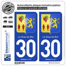 2 Autocollants plaque immatriculation Auto 30 Le Grau-du-Roi - Armoiries