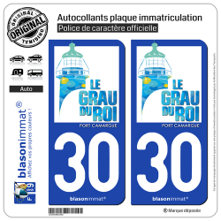 2 Autocollants plaque immatriculation Auto 30 Le Grau-du-Roi - Commune