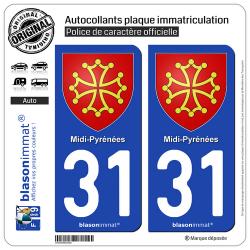 2 Autocollants plaque immatriculation Auto 31 Midi-Pyrénées - Armoiries